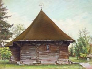 Biserica de lemn din Vorniceni ulei pe panza