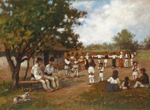 Hora de la Vorniceni, Botosani  Ulei pe panza 20-20 cm Catalin Relenschi-pictor -
