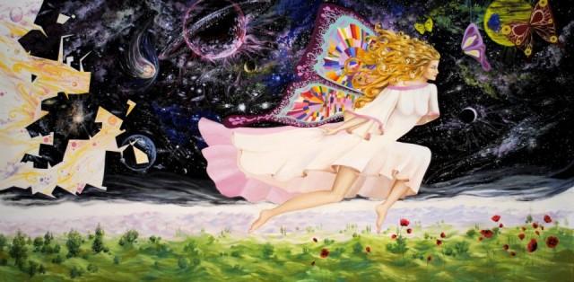 Daniel Relenschi pictor oamenii fluture(ulei pe perete-5m/2 m)