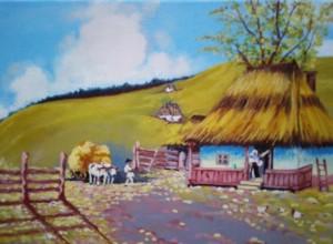 Casa din Vorniceni, satul bunicilor  Ulei pe panza , 20-20 cm Catalin Relenschi-pictor