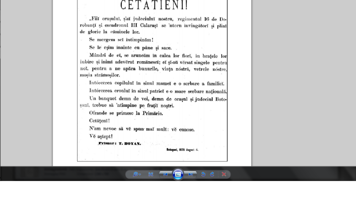 Botoşani, 1877, aprilie, 7.
